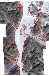 Limite des ouadis (rouge) et pistes anthropiques (bleu)