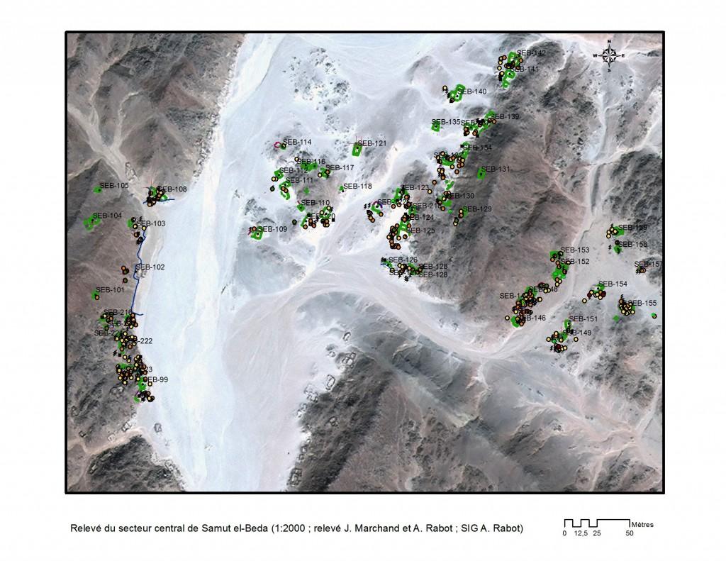 Relevé du secteur central du wadi Samut el-Beda (1:2000 ; relevé J. Marchand, A. Rabot ; SIG A. Rabot, © MAFDO)
